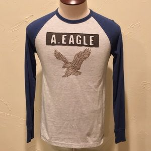 American Eagle Blue & White Mens XS Graphic Shirt
